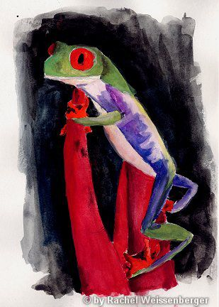 Frog, Watercolour on paper,